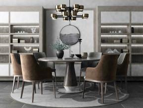 禅意圆形餐桌餐椅组合