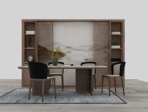 新中式餐桌椅装饰柜