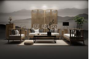 新中式沙發茶幾3D模型圖片