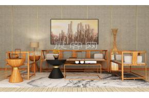 新中式沙發組合3D模型圖片
