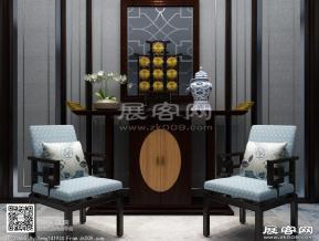 新中式休闲桌椅组合3D模型